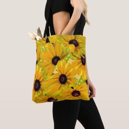 Black Eyed Susan Flowers Floral Shoulder Tote