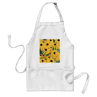 Black Eyed Susan Flowers in Deep Yellow Adult Apron