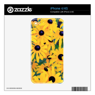 Black Eyed Susan Flowers in Deep Yellow Decals For iPhone 4S