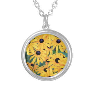 Black Eyed Susan Flowers in Deep Yellow Silver Plated Necklace
