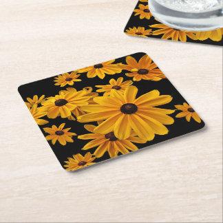 Black-eyed Susan Flowers Square Paper Coaster