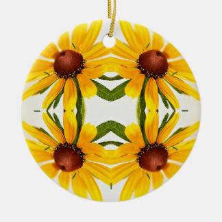 Black-Eyed Susan Kaleidoscope Pattern Ceramic Ornament