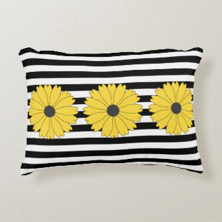 Black Eyed Susan on Black Pattern Accent Pillow
