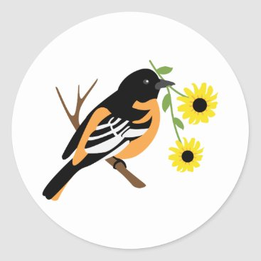 USA Themed Black Eyed Susan Oriole Classic Round Sticker