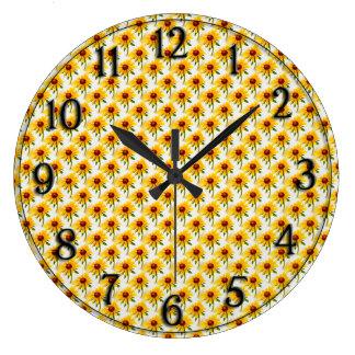 Black-Eyed Susan Photo Wallpaper Pattern Large Clock