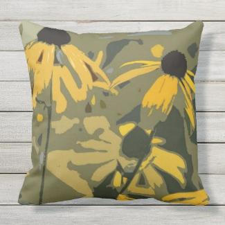 Black-Eyed Susan Rudbeckia Design OUTDOOR pillow