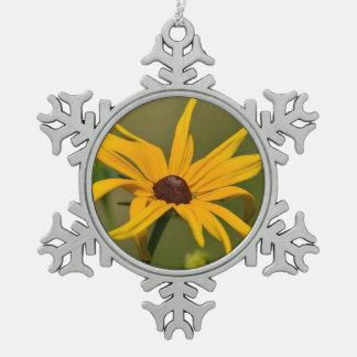 Black Eyed Susan Solitude Snowflake Pewter Christmas Ornament