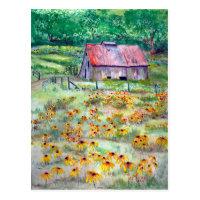 Black-Eyed Susan Wildflower Barn Postcard