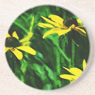 Black Eyed Susan Wildflowers Abstract Sandstone Coaster