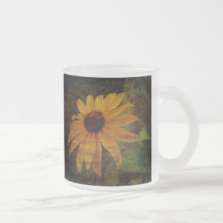 Black-Eyed Susan Wildflowers Frosted Glass Coffee Mug