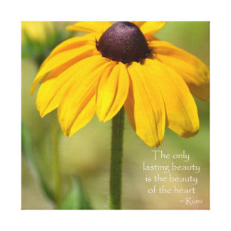 Black Eyed Susan with Quote by Rumi Canvas Print