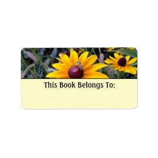 Black-Eyed Susan Yellow Bookplate Label Address Label