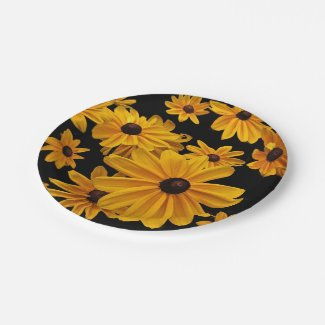 Black-eyed Susan Yellow Flower 7 Inch Paper Plate