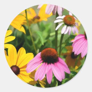 Black Eyed Susans and Pink Coneflower Daisy Garden Round Sticker