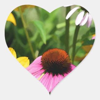 Black Eyed Susans and Pink Coneflower Daisy Garden Heart Sticker