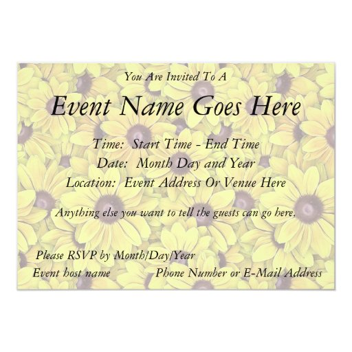 Black Eyed Susans Everywhere 5x7 Paper Invitation Card