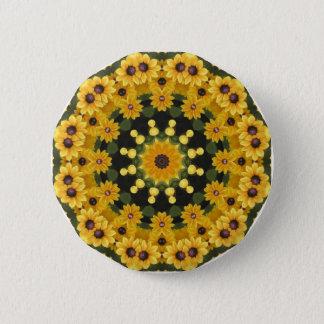 Black-eyed Susans,  Floral Mandala Pinback Button