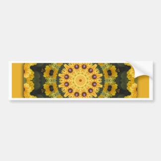 Black-eyed Susans, Floral mandala-style Bumper Sticker