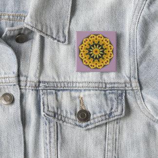 Black-eyed Susans, Floral mandala-style Button