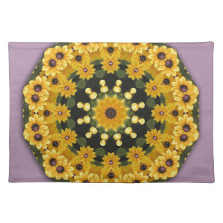 Black-eyed Susans, Floral mandala-style Cloth Placemat