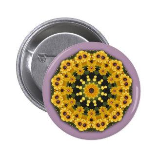 Black-eyed Susans, Floral mandala-style Pinback Button