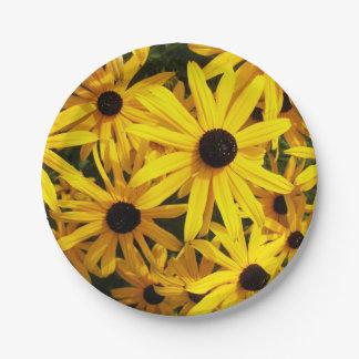 Black Eyed Susans Floral Photo Paper Plate