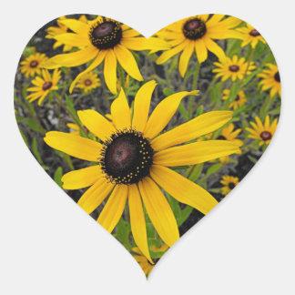 Black Eyed Susans Heart Sticker