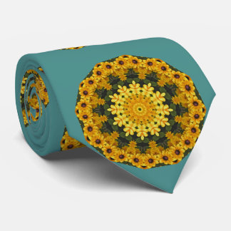 Black-eyed Susans Nature, Flower-Mandala Neck Tie