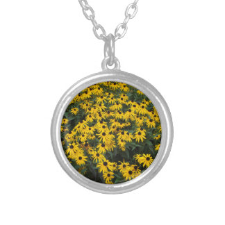 Black-Eyed Susans Round Pendant Necklace