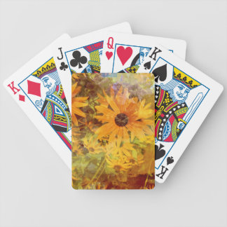 Black Eyed Susan's Wildflower Abstract Design Bicycle Playing Cards