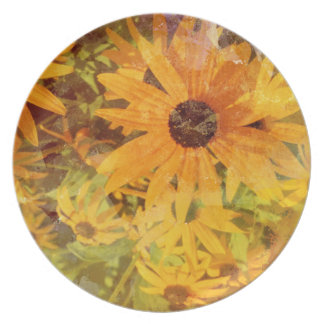 Black Eyed Susan's Wildflower Abstract Design Plate