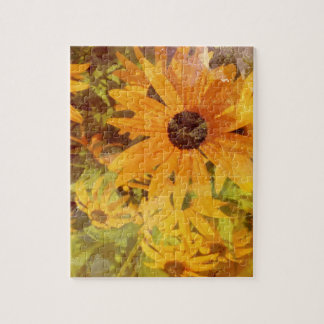 Black Eyed Susan's Wildflower Abstract Design Puzzle