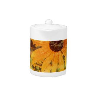 Black Eyed Susan's Wildflower Abstract Design Teapot