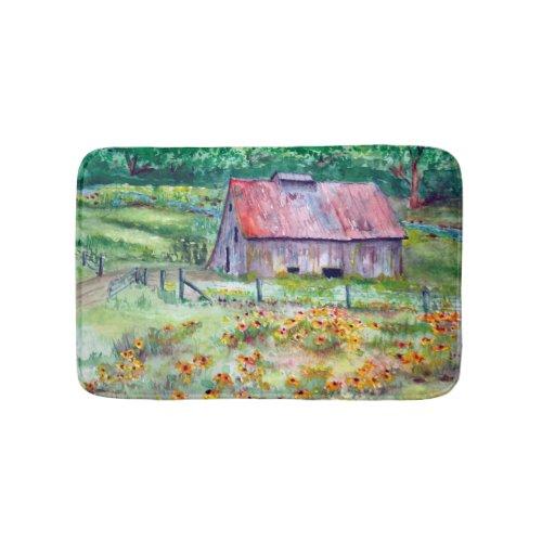 Black-Eyed Susans Wildflower Barn Watercolor Bath Mat