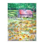 Black-Eyed Susans Wildflower Barn Watercolor Gallery Wrap Canvas