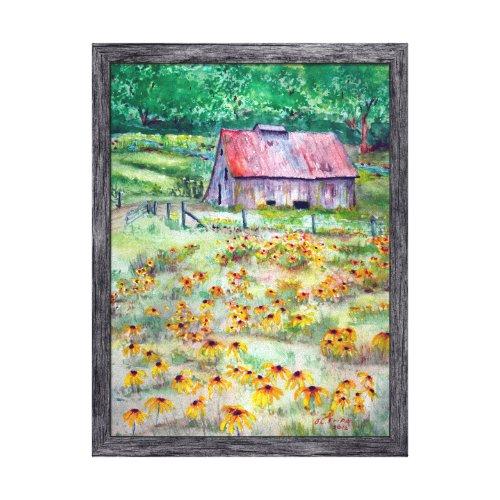 Black-Eyed Susans Wildflower Barn Watercolor Canvas Print