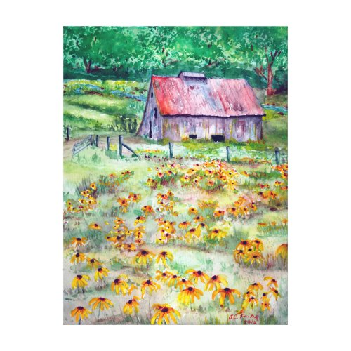 Black-Eyed Susans Wildflower Barn Watercolor Canvas Print