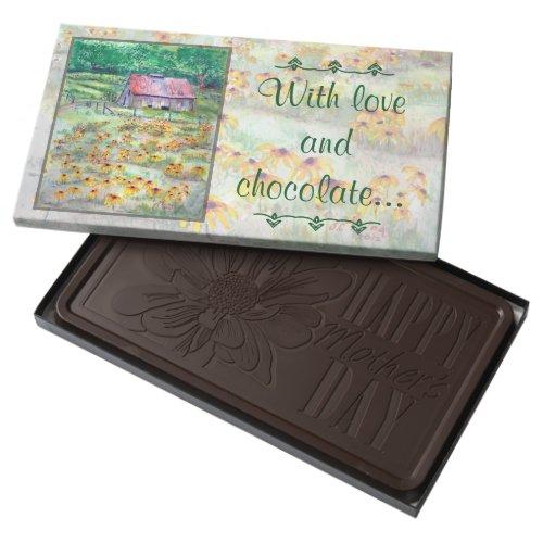 Black-Eyed Susans Wildflower Barn Watercolor Dark Chocolate Bar
