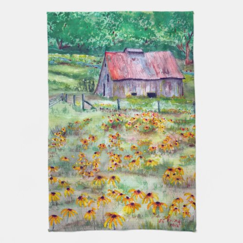 Black-Eyed Susans Wildflower Barn Watercolor Kitchen Towels