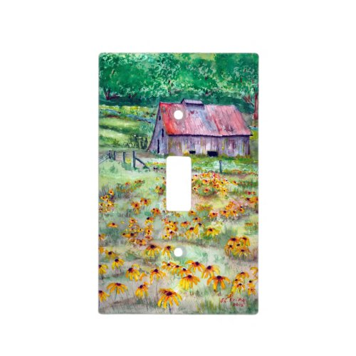 Black-Eyed Susans Wildflower Barn Watercolor Light Switch Cover