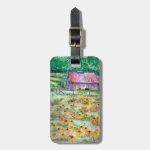 Black-Eyed Susans Wildflower Barn Watercolor Luggage Tag
