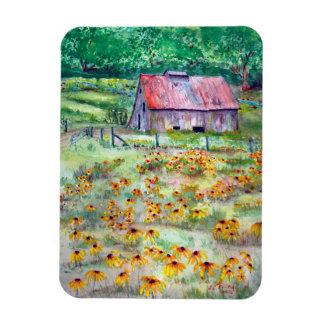 Black-Eyed Susans Wildflower Barn Watercolor Magnet