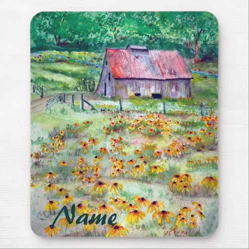 Black-Eyed Susans Wildflower Barn Watercolor Mouse Pad