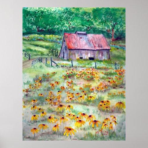 Black-Eyed Susans Wildflower Barn Watercolor Poster