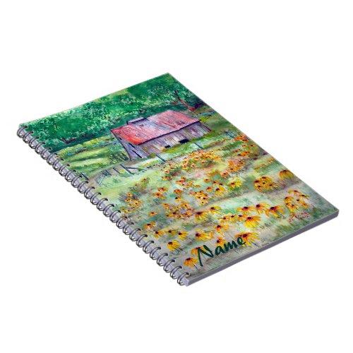 Black-Eyed Susans Wildflower Barn Watercolor Spiral Notebook