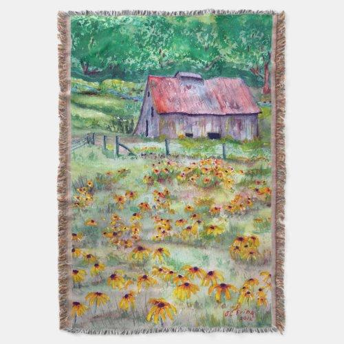 Black-Eyed Susans Wildflower Barn Watercolor Throw