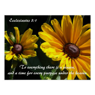 Black Eyed Susans With Scripture Verse Poster