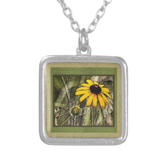 Black eyed Susie Silver Plated Necklace