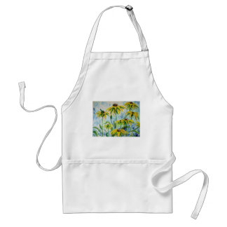 Black eyed suzans in Watercolor Adult Apron