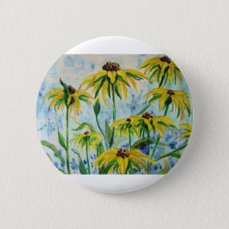 Black eyed suzans in Watercolor Pinback Button